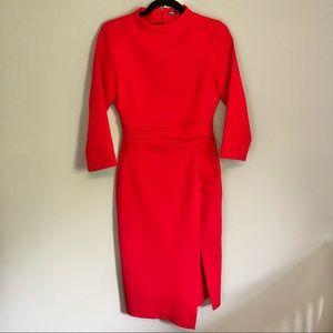Zara Red Mock Collar Long Sleeve Dress